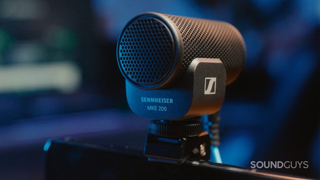 The back of the Sennheiser MKE 200 showing the branding and model name.