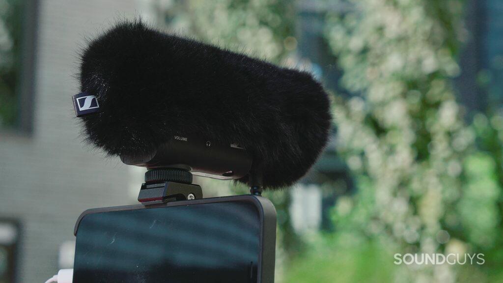Sennheiser deadcat covering the Sennheiser MKE 400 on-camera directional shotgun microphone.